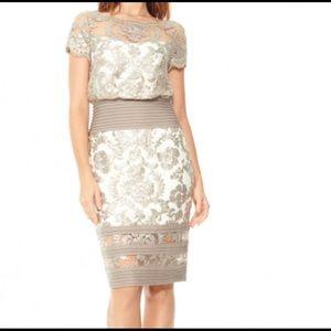 Blouson waist Paillette Embroidered Lace Dress NWT
